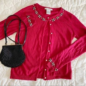 red detailed cardigan